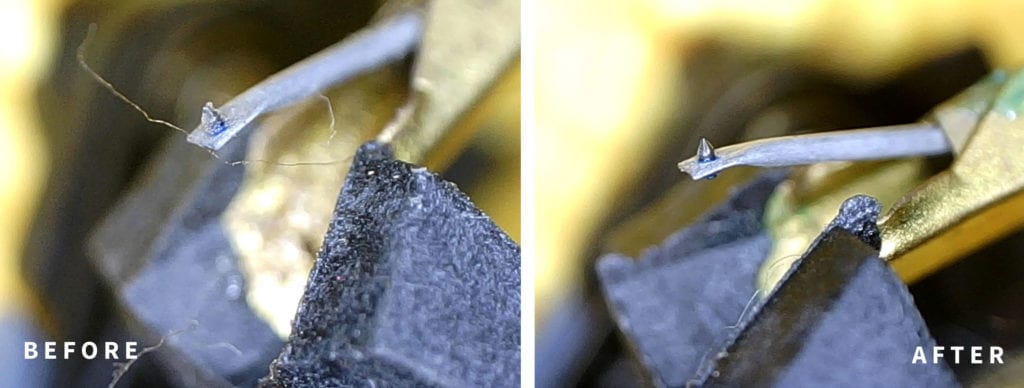 Before and after shot: how to clean a record player needle or stylus.